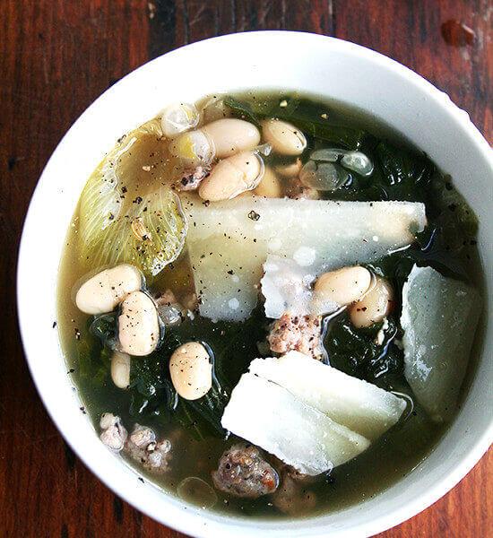 Homemade Chicken Stock + White Bean, Escarole & Sausage Soup