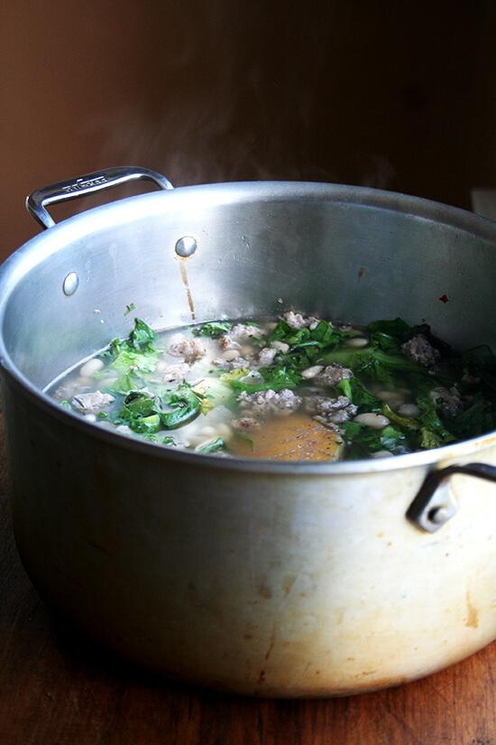 A large pot of white bean soup.