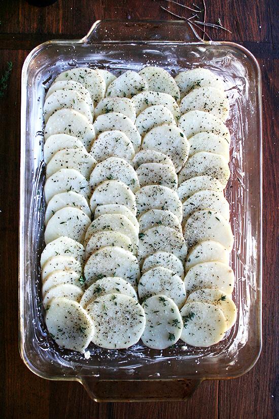 1st layer of potato gratin