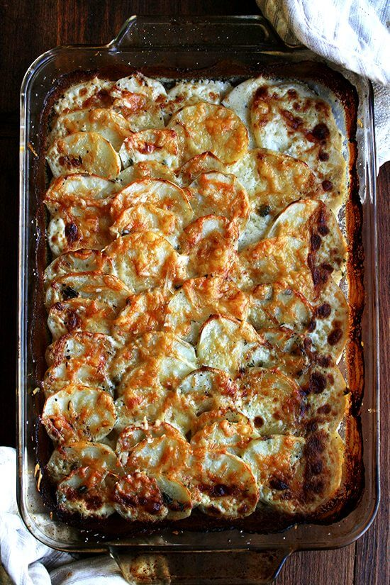 Just-baked potato gratin.