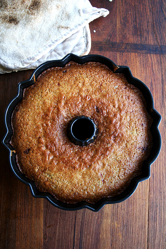 Just baked applesauce - yogurt cake still in bundt pan.