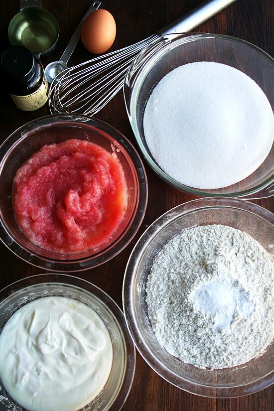 ingredients to make applesauce-yogurt cake.