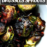 A bowl of balsamic-roasted Brussels sprouts.
