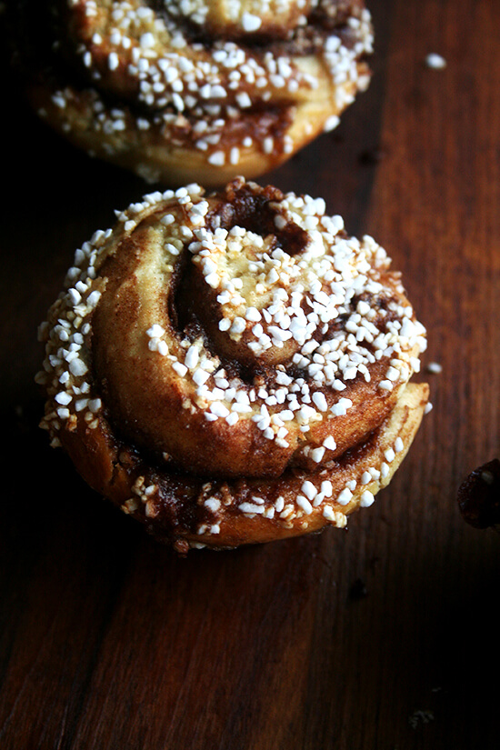 pearl-sugar topped cinnamon bun