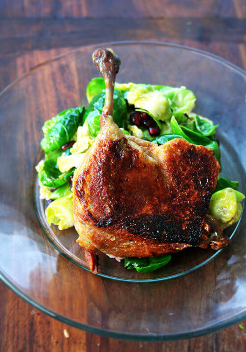 You can make pretty amazing duck confit in about three hours with only three ingredients: duck legs, salt, and butter. It may not be traditional, but it might be the fastest, most-delicious bistro-style meal you ever prepare. // alexandracooks.com