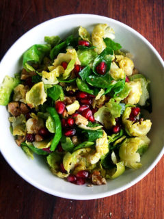 brussels sprouts salad with pomegranates and toasted walnuts