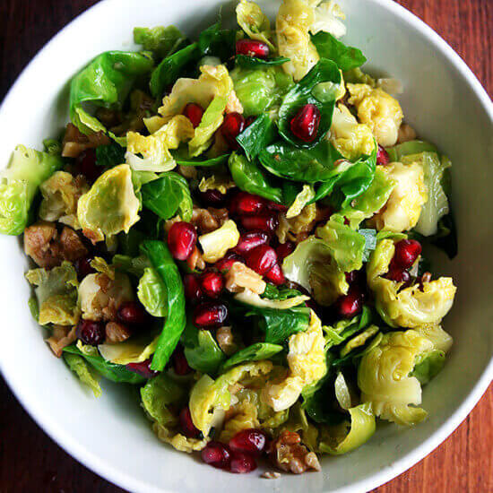 Brussels Sprout Salad with Pomegranate, Walnuts & Jalapeno
