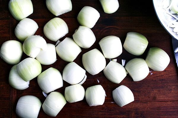 halved onions