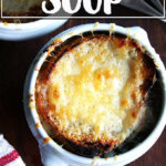 A bowl of classic French onion soup.