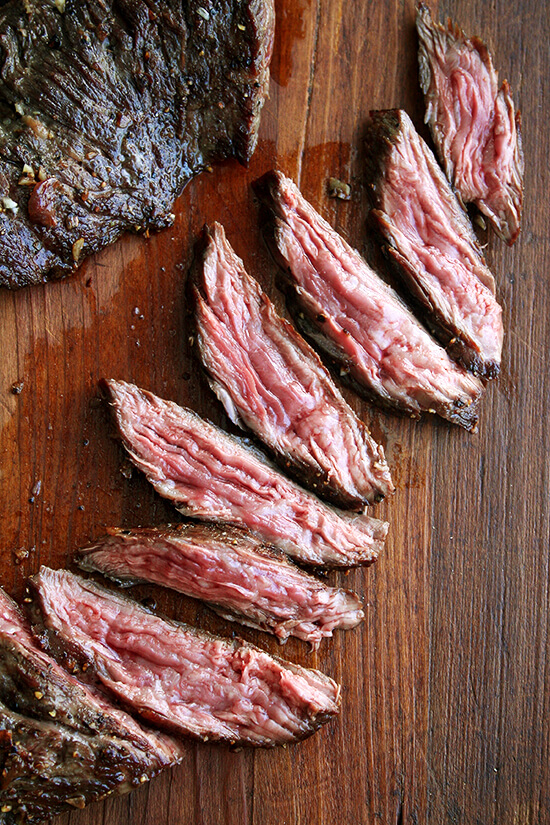 Skirt or flap steak with shallots also chocolate bread
