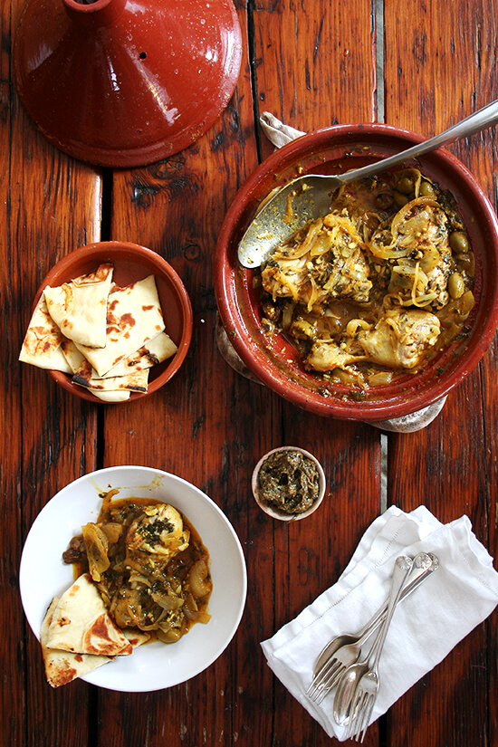 Chicken with preserved lemons green olives chicken tagine with preserved lemons and green olives forumfinder