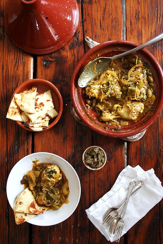 Chicken with preserved lemons green olives chicken tagine with preserved lemons and green olives forumfinder Images
