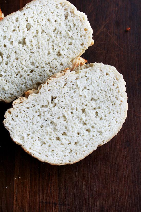 halved gluten-free peasant bread