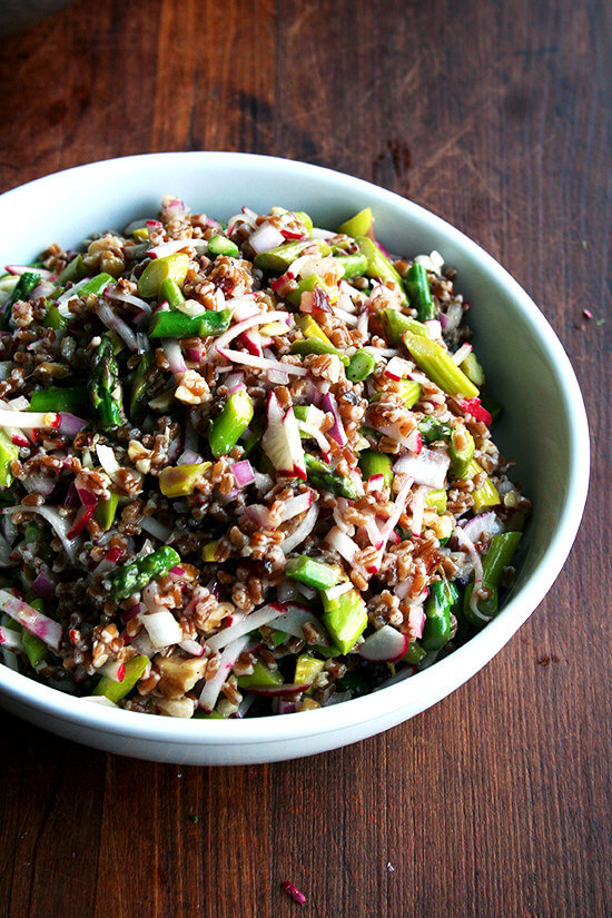 A bowl of spring wheat berry salad.