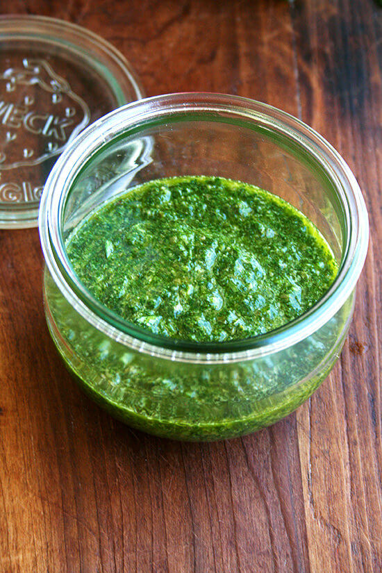 mint sauce in jar