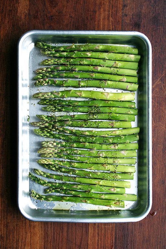 asparagus on a sheet pan