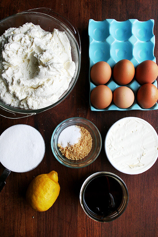 The ingredients to make the lemon-ricotta cheesecake