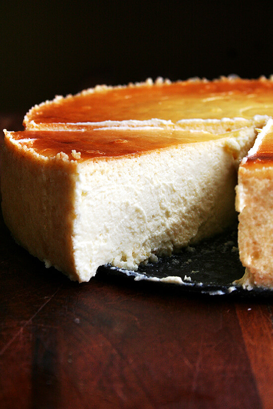 A slice of lemon-ricotta cheesecake.