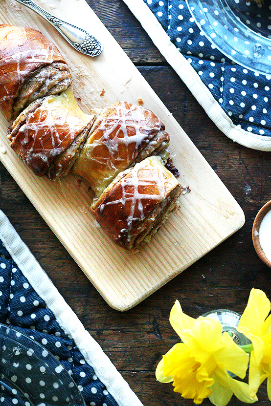 Cinnamon pull-apart bread on a board.