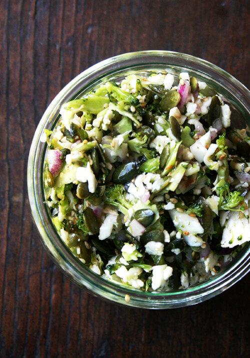 A bowl of broccoli-cauliflower salad.