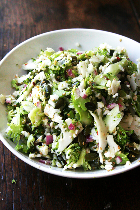 This broccoli salad is a gold mine. It's raw. It's vegan. It's gluten- and nut-free. And it happens to be delicious. Who would suspect that raw, shaved broccoli and cauliflower would pair so nicely with sesame seeds and pepitas? // alexandracooks.com