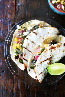 Tacos with Grilled Poblano & Corn Salad