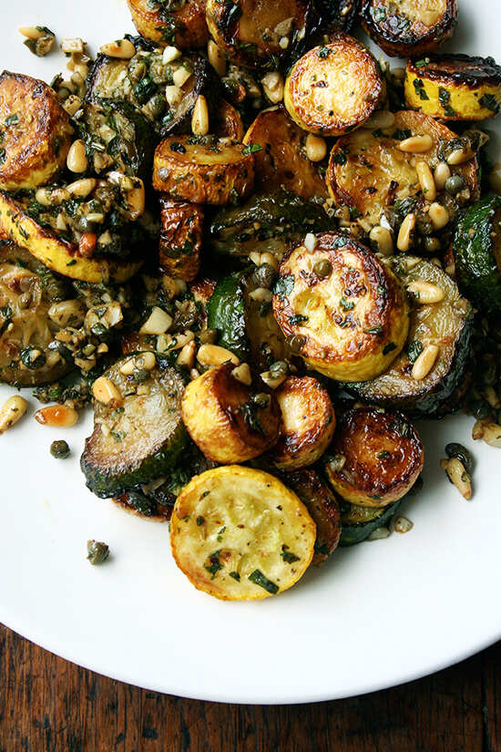 sauteed zucchini with mint, basil, and pine nuts