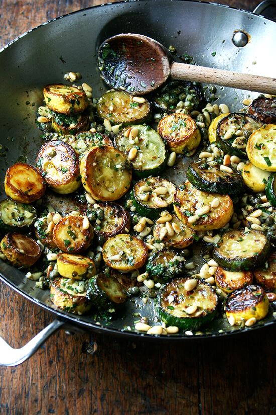 Sautéed Zucchini with Mint, Basil & Pine Nuts