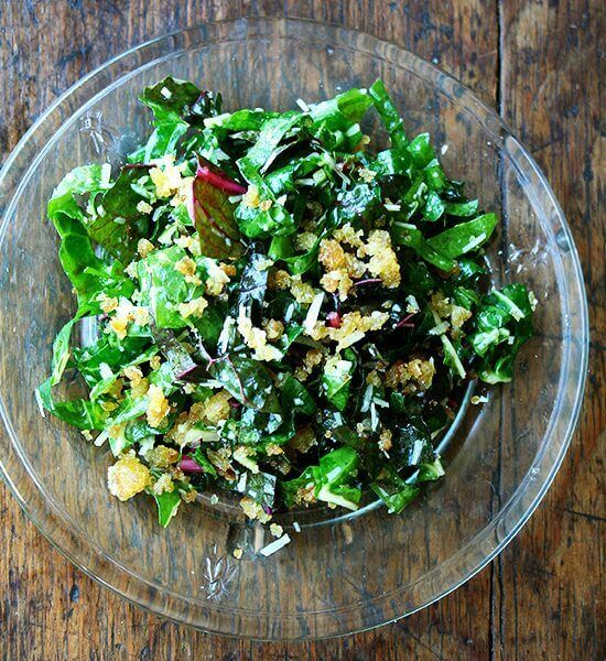 Swiss Chard Salad with Lemon, Parmesan, and Breadcrumbs