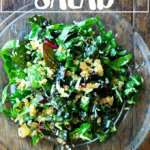 A plate of Swiss chard salad with lemony bread crumbs.