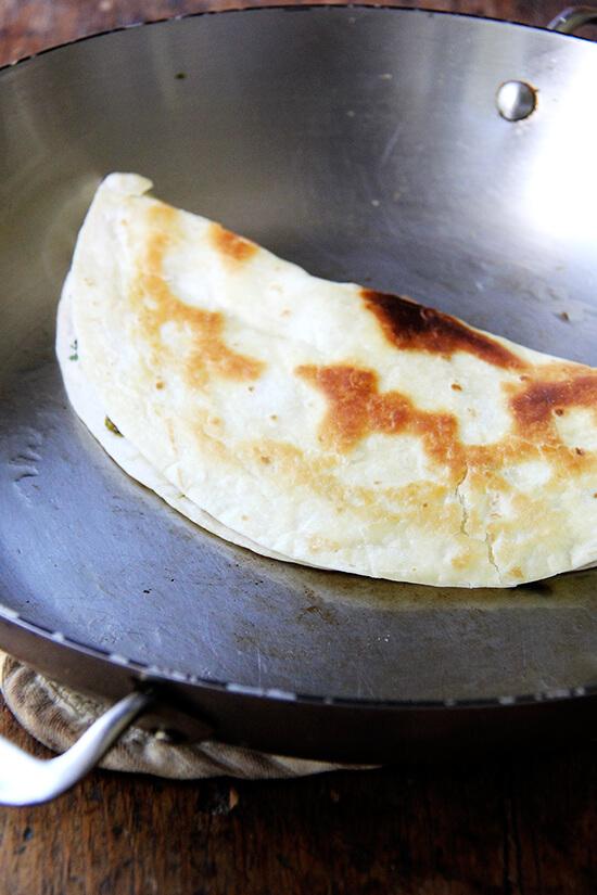 in sauté pan