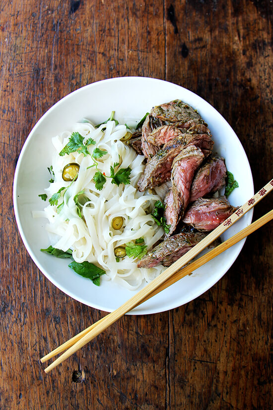 chimichurri skirt steak with rice noodles and nuoc cham