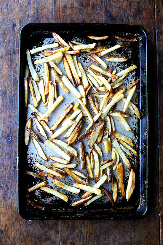A sheet pan of homemade French fries.