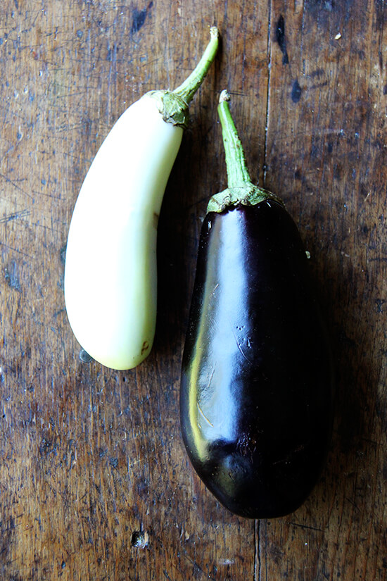 two eggplants on a table