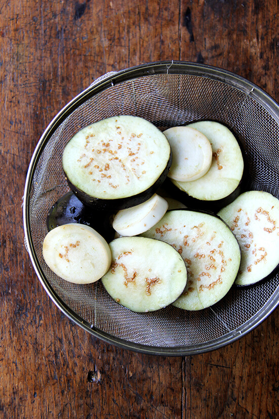 salting, draining the eggplant