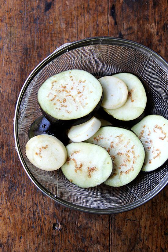 salting, draining the eggplant