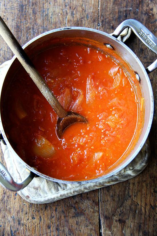 marcella hazan tomato sauce in a pot