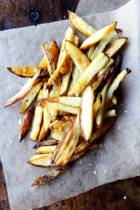 A pile of homemade oven fries.