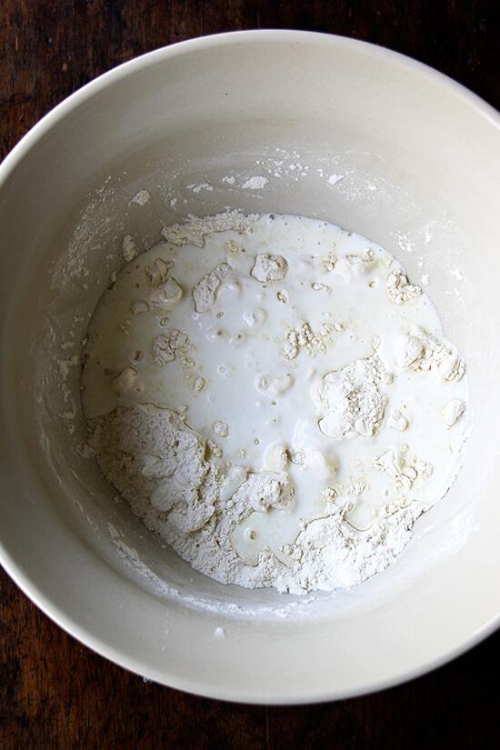 adding the buttermilk