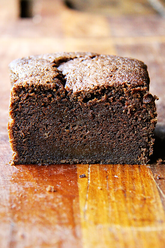 Dense chocolate loaf cake.