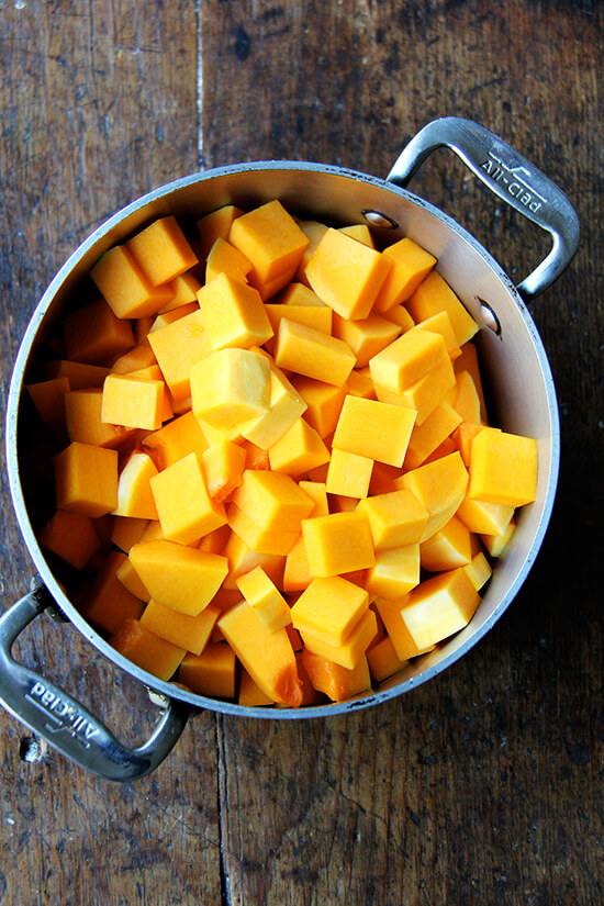 cubed butternut squash in pot