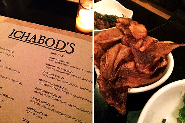 Ichabod's menu & Old Bay chips.