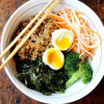 Leftover Grain Bowl with Teriyaki Sauce, Quick-Pickled Carrots & Daikon and Soft-Boiled Eggs