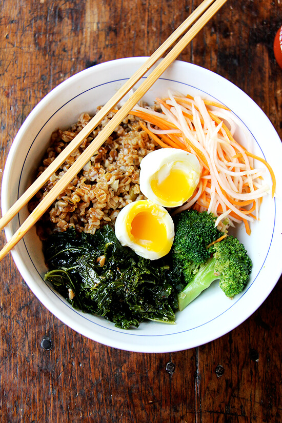 Clearing the fridge of leftovers always feels like a feat. But this, this leftover grain bowl with teriyaki sauce, quick-pickled carrots and daikon, and soft-boiled eggs, felt like a triumph. // alexandracooks.com