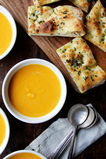 Butternut Squash and Cider Soup with Herbed Flatbread