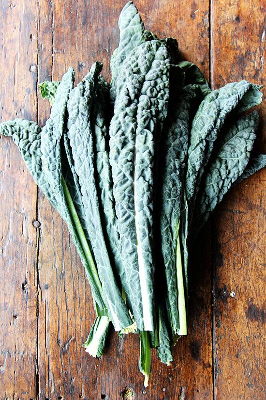 Kale on a cutting board.