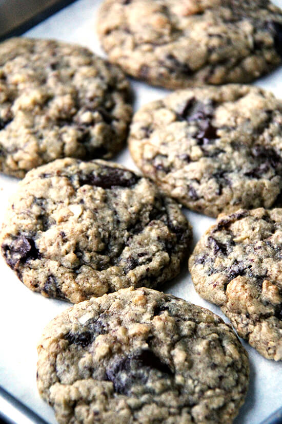 "Peter Meehan confesses to eating AK chocolate chip cookies all day long, describing them as, ""the ideal companion to the first coffee of the day, a buffer between the quiet of dawn and the demands of the day to come."" // alexandracooks.com"