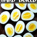 Half a dozen halved hard-boiled eggs, cooked in the Instant Pot.