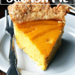 A slice of butternut squash pie on a plate.