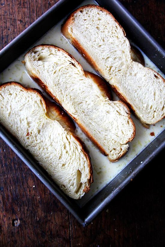 bread in custard